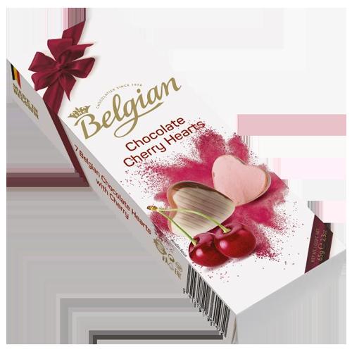 The Belgian chocolate cherry hearts 65g