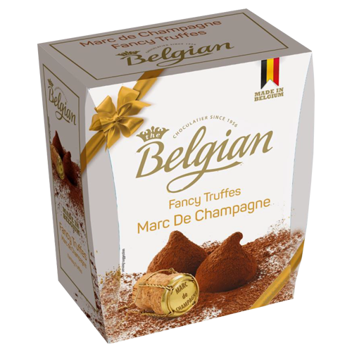 Cocoa dusted truffles Marc de Champagne The Belgian 200g
