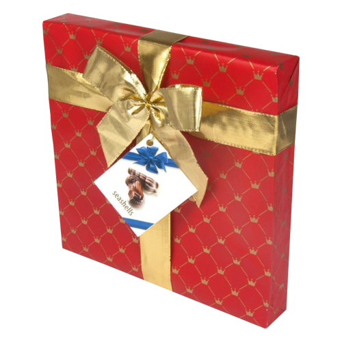 The Belgian chocolate seashells giftwrap red 250g