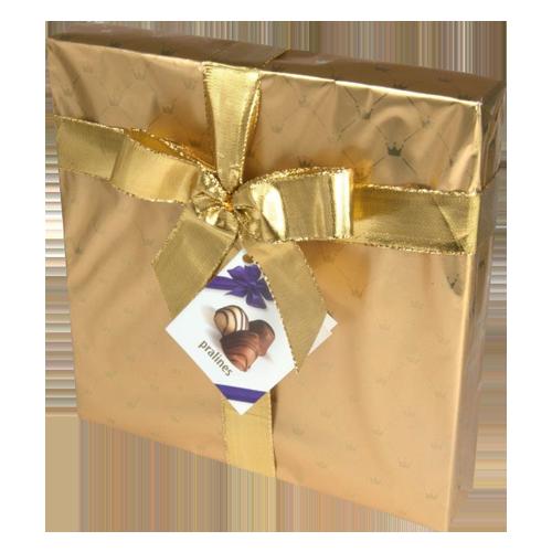 The Belgian chocolate pralines giftwrap gold 200g